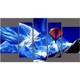 Snowy Mountain Hanging 5-Piece Canvas Eco-friendly and Waterproof Blue Non-framed Prints