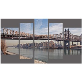 Bridge and River Hanging 5-Piece Canvas Eco-friendly and Waterproof Non-framed Prints