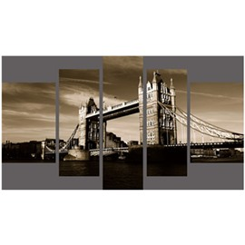 Tower Bridge in Dusk Hanging 5-Piece Canvas Eco-friendly and Waterproof Non-framed Prints