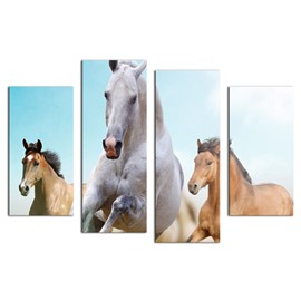 Running Horses Hanging 4-Piece Canvas Waterproof and Eco-friendly Non-framed Prints