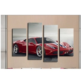 Red Sports Car Hanging 4-Piece Canvas Waterproof and Eco-friendly Non-framed Prints