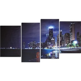 Buildings Surrounding Lake Hanging 4-Piece Canvas Eco-friendly and Waterproof Non-framed Prints