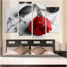 Red Rose Hanging 4-Piece Canvas Waterproof and Eco-friendly Romantic Non-framed Prints