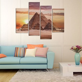 Triangle Mounds in Sunset Hanging 4-Piece Canvas Waterproof and Eco-friendly Non-framed Prints