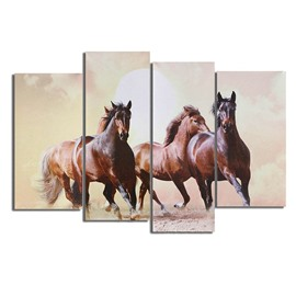 Brown Running Horses Hanging 4-Piece Canvas Eco-friendly and Waterproof Non-framed Prints