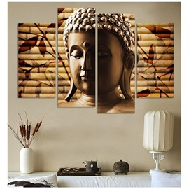 Brown Buddha Face Hanging 4-Piece Canvas Waterproof and Eco-friendly Non-framed Prints