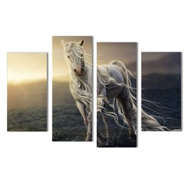 White Horse Hanging 4-Piece Canvas Waterproof and Eco-friendly Non-framed Prints