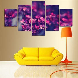 Purple Flowers Pattern Hanging 4-Piece Canvas Waterproof and Eco-friendly Non-framed Prints