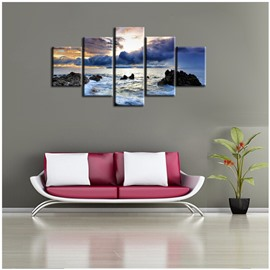 Dusk and Sea Hanging 5-Piece Canvas Eco-friendly and Waterproof Non-framed Prints