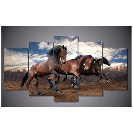 Running Horses in Blue Sky Hanging 5-Piece Canvas Eco-friendly and Waterproof Non-framed Prints