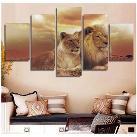 Brown Lions Hanging 5-Piece Canvas Eco-friendly and Waterproof Non-framed Prints