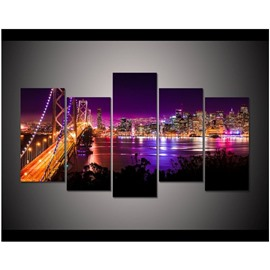 Purple and Yellow City Scenery Hanging 5-Piece Canvas Eco-friendly and Waterproof Non-framed Prints