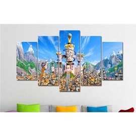 Blue Sky and Castle Hanging 5-Piece Canvas Eco-friendly and Waterproof Non-framed Prints