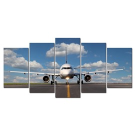 White Airplane Hanging 5-Piece Canvas Eco-friendly and Waterproof Non-framed Prints