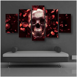 Skull Head and Rose Petals Hanging 5-Piece Canvas Eco-friendly and Waterproof Non-framed Prints
