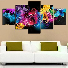 Colorful Flowers Pattern Hanging 5-Piece Canvas Eco-friendly and Waterproof Non-framed Prints