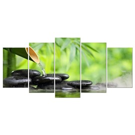 Green Plants and Stones Hanging 5-Piece Canvas Eco-friendly and Waterproof Non-framed Prints