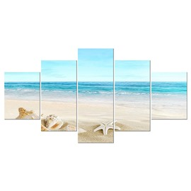 Blue Sea Conch and Starfish Hanging 5-Piece Canvas Eco-friendly and Waterproof Non-framed Prints