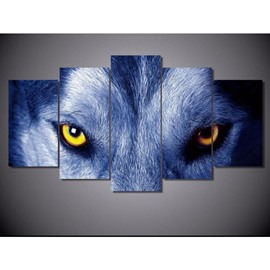 Wolf Eyes Hanging 5-Piece Canvas Eco-friendly and Waterproof Non-framed Prints