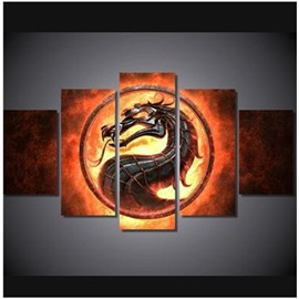 Yellow Fire Surrounding Dragon Hanging 5-Piece Canvas Eco-friendly and Waterproof Non-framed Prints