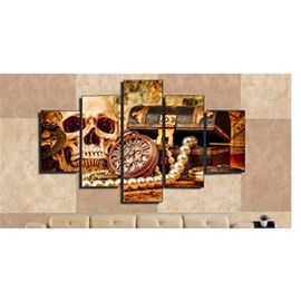Yellow Skull Head Box and Clock Hanging 5-Piece Canvas Eco-friendly Waterproof Non-framed Prints