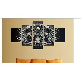 Skull Heads Hanging 5-Piece Canvas Eco-friendly and Waterproof Black Non-framed Prints