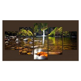 Waterfall and Green Plants Hanging 5-Piece Canvas Eco-friendly and Waterproof Non-framed Prints