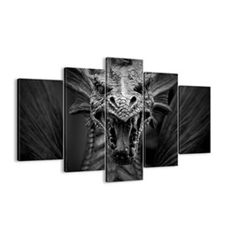 Dragon Hanging 5-Piece Canvas Eco-friendly and Waterproof Black Non-framed Prints