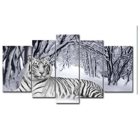 Tiger Lying on Snow Ground Hanging 5-Piece Canvas Eco-friendly and Waterproof Non-framed Prints