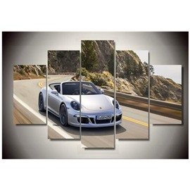 White Sports Car Hanging 5-Piece Canvas Eco-friendly and Waterproof Non-framed Prints