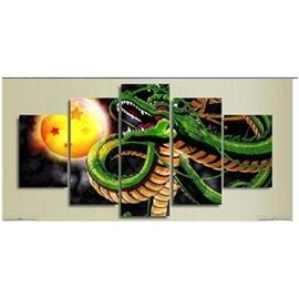 Green Dragon and Moon Hanging 5-Piece Canvas Eco-friendly and Waterproof Non-framed Prints