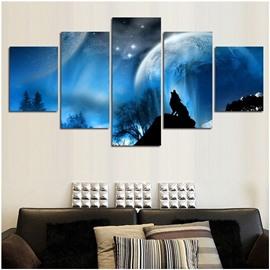 Blue Star Sky and Planet Hanging 5-Piece Canvas Eco-friendly and Waterproof Non-framed Prints