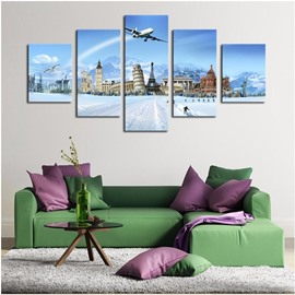 Blue Sky and Famous Architectures Hanging 5-Piece Canvas Eco-friendly and Waterproof Non-framed Prints