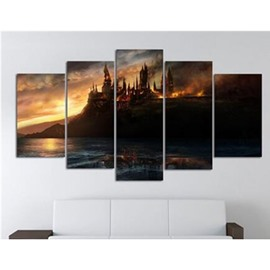 Castle in Island Hanging 5-Piece Canvas Eco-friendly and Waterproof Non-framed Prints