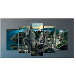 Blue Lake Surrounding Architectures Hanging 5-Piece Canvas Eco-friendly and Waterproof Non-framed Prints
