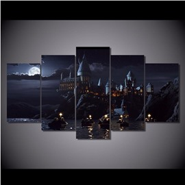 Castle beside Lake and Moon Hanging 5-Piece Canvas Eco-friendly and Waterproof Non-framed Prints