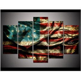 American National Flag Hanging 5-Piece Canvas Eco-friendly and Waterproof Non-framed Prints