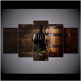 Wine Wooden Tub and Grapes Hanging 5-Piece Canvas Eco-friendly and Waterproof Non-framed Prints