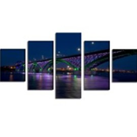 Bridge over Lake Hanging 5-Piece Canvas Eco-friendly and Waterproof Non-framed Prints