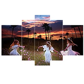 Girls Playing in Flower Blossom Hanging 5-Piece Canvas Eco-friendly and Waterproof Non-framed Prints
