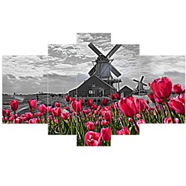 Red Tulips and Windmill Pattern Hanging 5-Piece Canvas Eco-friendly and Waterproof Non-framed Prints