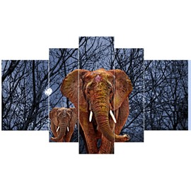 Brown Elephants in Forest Night Hanging 5-Piece Canvas Eco-friendly and Waterproof Non-framed Prints