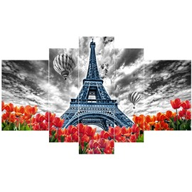 Eiffel Tower Tulips and Parachutes Pattern Hanging 5-Piece Canvas Eco-friendly and Waterproof Non-framed Prints