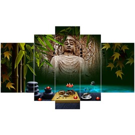 Buddha in Bamboo Forest Pattern Hanging 5-Piece Canvas Eco-friendly and Waterproof Non-framed Prints