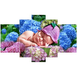 Baby Sleeping on Flowers Pattern Hanging 5-Piece Canvas Natural Style Eco-friendly and Waterproof Non-framed Prints