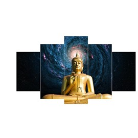 Golden Buddha in Universe Pattern Hanging 5-Piece Canvas Eco-friendly and Waterproof Non-framed Prints