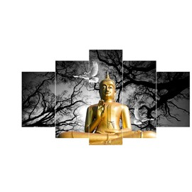 Golden Buddha at Night Pattern Hanging 5-Piece Canvas Eco-friendly and Waterproof Non-framed Prints
