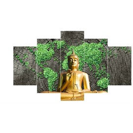 Golden Buddha before Plants Mountain Pattern Hanging 5-Piece Canvas Eco-friendly Waterproof Non-framed Prints