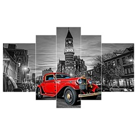 Red Car in Street Hanging 5-Piece Canvas Eco-friendly and Waterproof Non-framed Prints