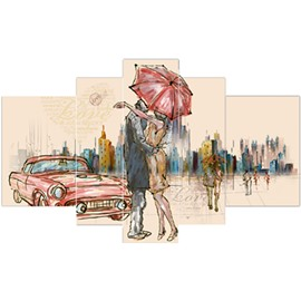 Couple in Umbrella Pattern Hanging 5-Piece Canvas Eco-friendly and Waterproof Non-framed Prints